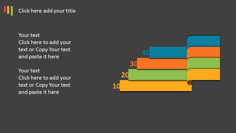 四色酷黑扁平化并列ppt图表